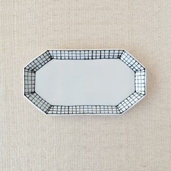 九谷焼/日下華子/格子/八角皿の商品写真