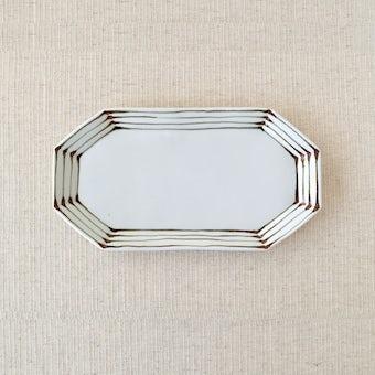 九谷焼/日下華子/線模様/八角皿の商品写真