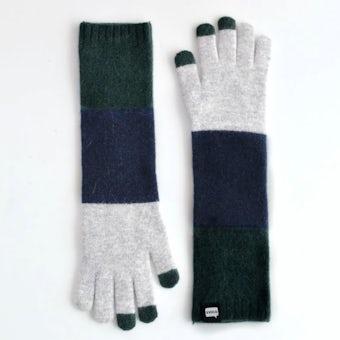 EVOLG/TRICO LONG/ロング手袋(グレー×ネイビー×リーフ)の商品写真