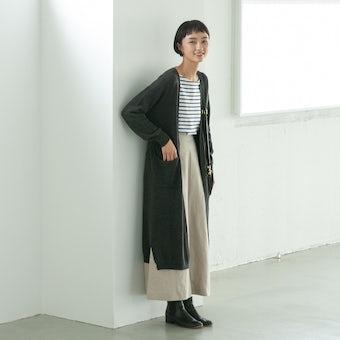 【今季終了】「後ろ姿までお気に入り」やわらかドレープのロングカーディガン(チャコールグレー)/KURASHI&Trips PUBLISHINGの商品写真