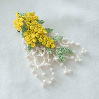ミモザの刺繍コサージュ(イエロー)/000×KURASHI&Trips PUBLISHINGの商品写真
