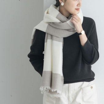 ※LAPUAN KANKURIT / ラプアン・カンクリ / メリノウールストール / RANTU(ホワイト×ベージュ)の商品写真