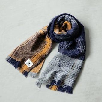 kobo oriza/ウール変わり織りマフラー(マスタード)の商品写真