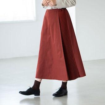 【今季終了】「定番コーデにアクセント」サイドプリーツスカート(レッドブラウン)の商品写真