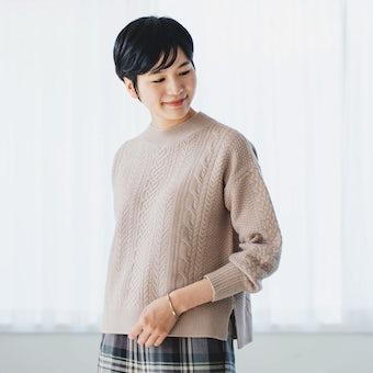 【今季終了】「編み目にときめく」すっきりシルエットのアランニット(モカ)の商品写真