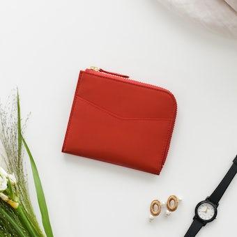 【次回5月下旬入荷予定】「スリムに見えて収納上手」L字ファスナーのミニ財布(レッド)の商品写真