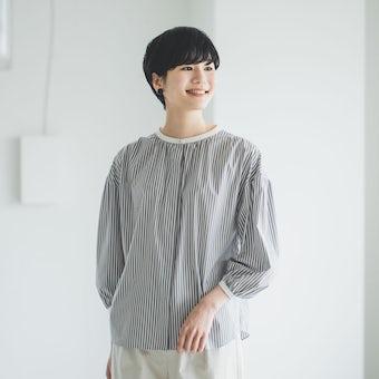 「ひとさじの春をさりげなく」襟がポイントのシャツブラウス(ブラウンストライプ)の商品写真