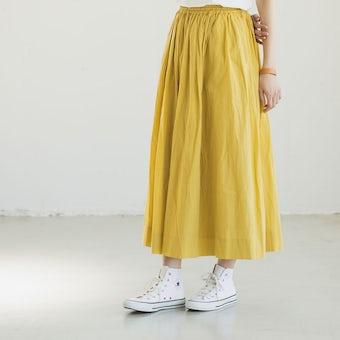 【今季終了】「私になじむ新定番」パンツ派さんにもおすすめのギャザースカート(イエロー)の商品写真