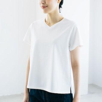 「大人に似合うワケがある」素肌も心もよろこぶTシャツ/ Vネック(ホワイト)の商品写真