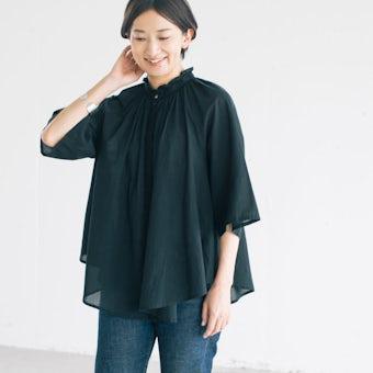 【今季終了】MIDIUMISOLID / ギャザーブラウス / ブラックの商品写真