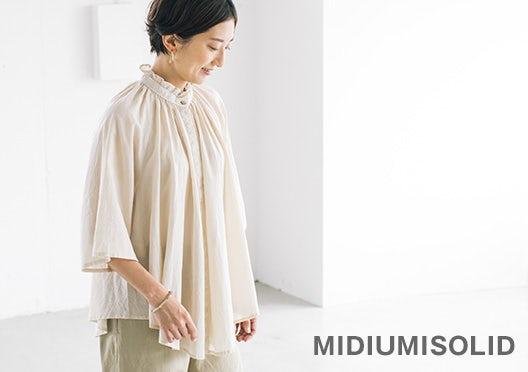 MIDIUMISOLID / ミディウミソリッド / ギャザーブラウスの画像