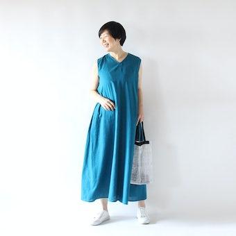 【今季終了】金子敦子さんとつくった大人のノースリーブワンピース(ターコイズ)の商品写真