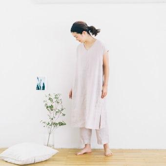【今季終了】「心ゆるめるひと時に」リネンのリラックスウェア(ワンピース・パンツセット)ラベンダーの商品写真