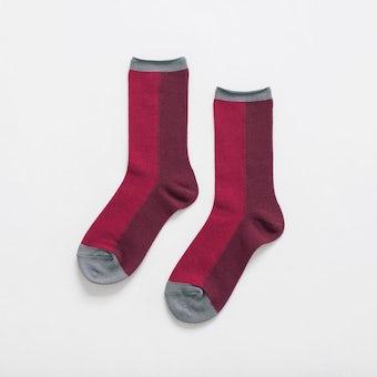 【今季終了】「足元15cm、自分だけの景色」秋色を添える気がきく靴下 / ワインレッドの商品写真