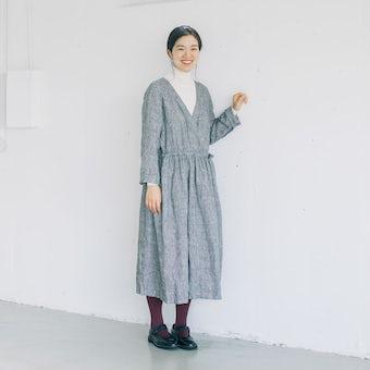 【当店別注】fog linen work / 秋チェックのリネンワンピース(グレー)の商品写真