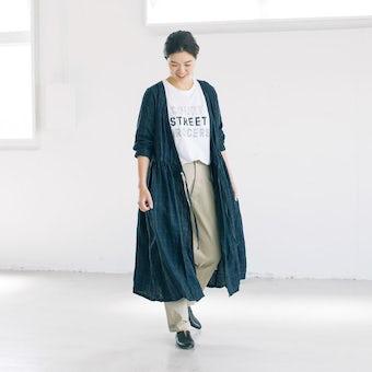 【当店別注】fog linen work / 秋チェックのリネンワンピース(ネイビーグリーン)の商品写真
