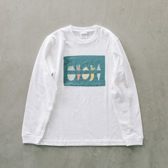 【次回入荷未定】『ひとりごとエプロン』ロングTシャツ / 野菜の千切りの商品写真