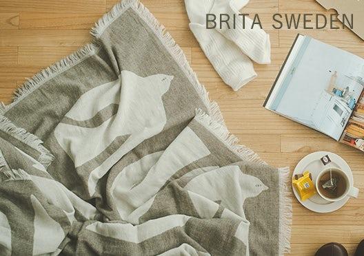 BRITA SWEDEN / ウールコットンブランケット / EARLY BIRD(オリーブ)の画像