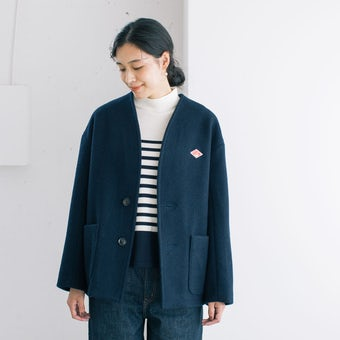 【30%OFF】DANTON / ダントン / ショート丈ノーカラーコート / 34サイズ / ネイビーの商品写真