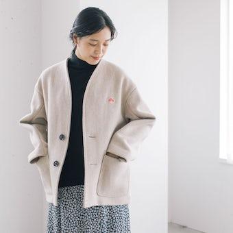 【今季終了】DANTON / ダントン / ショート丈ノーカラーコート / 34サイズ / アイボリーの商品写真