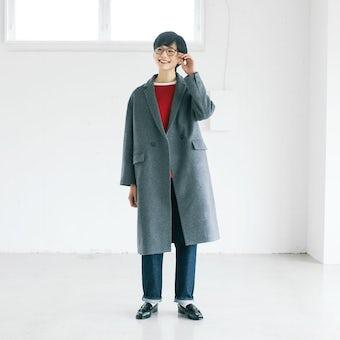 【今季終了】「冬のお出かけも私らしく」3WAYアレンジ襟のかろやかチェスターコート(グレー)の商品写真