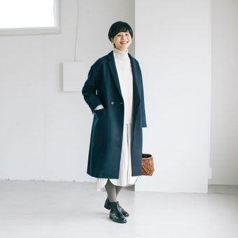 【今季終了】「冬のお出かけも私らしく」3WAYアレンジ襟のかろやかチェスターコート(ネイビー)の商品写真