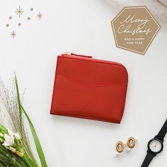 【取り扱い終了】【クリスマス限定ギフトバッグ】「スリムに見えて収納上手」ミニ財布(レッド)の商品写真
