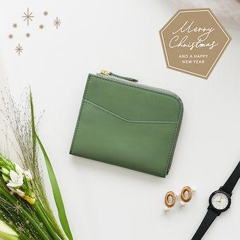 【取り扱い終了】【クリスマス限定ギフトバッグ】「スリムに見えて収納上手」ミニ財布(ペールグリーン)の商品写真
