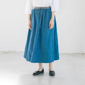 こころが色めく、salviaとつくった刺繍スカート(ブルー)の商品写真