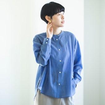 【今季終了】「かろやかに春を始めよう」ほどよい透け感のシアーシャツ(ブルー)の商品写真