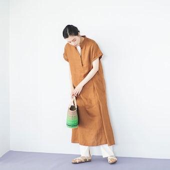 【取扱終了】【当店別注】fog linen work / リネンのフレアワンピース(ブラウン)の商品写真