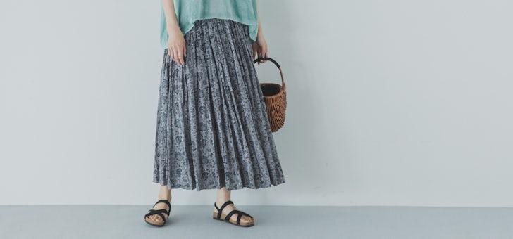 大人に似合う、シックな花柄スカート