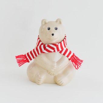 【今季終了】マフラー付き白くま貯金箱 / Polar Bear Money BOX/2021の商品写真