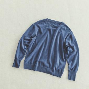 「今日はなに色?どのサイズ?」私の定番ベーシックニット / ブルー / Mサイズの商品写真