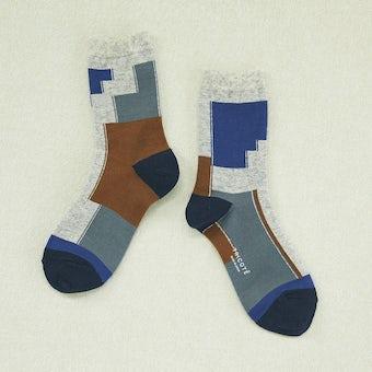 TRICOTE´ /トリコテ / カラーブロックソックス(ブルー × ライトグレー)の商品写真