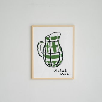 「暮らしに、ひとさじの非日常」ポスター・フレームセット / A check vase / ほりはたまおの商品写真