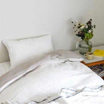 掛け布団カバー / シングル(ホワイト×ベージュ)/ さっとつけられる布団カバーシリーズの商品写真