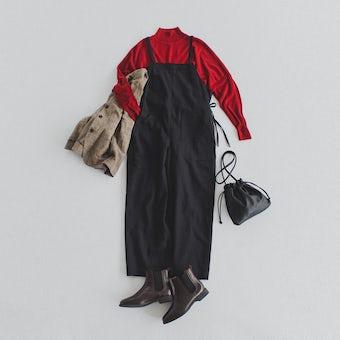 「着やすい工夫、詰めました」サイドリボンのサロペット / ブラックの商品写真