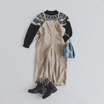 「着やすい工夫、詰めました」サイドリボンのサロペット / グレージュの商品写真